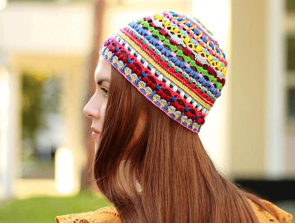 Hippie Crochet Beanie Pattern by It Was Yarn
