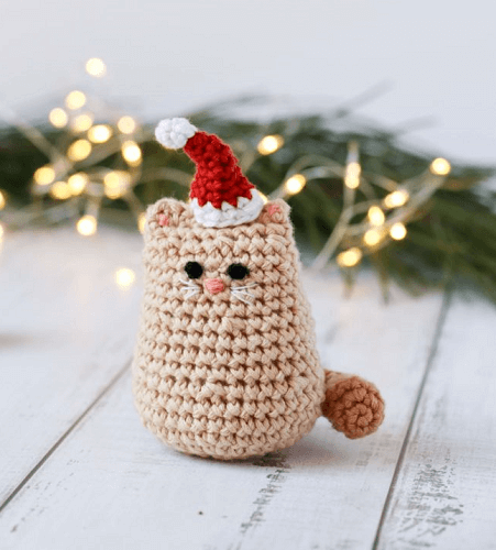 Itty Bitty Kitty Christmas Cat Crochet Pattern by Thoresby Cottage