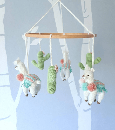 Llama Baby Mobile Crochet Pattern by Birds And Crickets