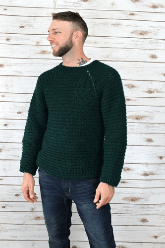 Men's Crochet Pullover Sweater Pattern by Two Brothers Blankets