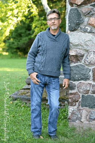 Midwestern Warmth Men's Cabled Sweater Pattern by A Crocheted Simplicity