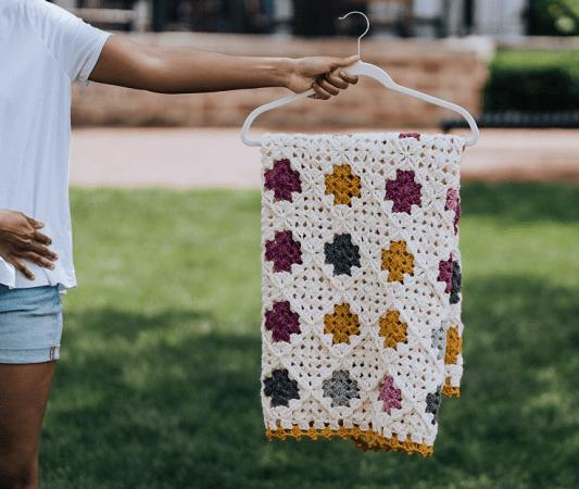 Modern Granny Square Blanket Crochet Pattern by TL Yarn Crafts