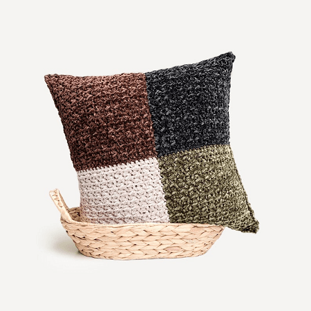Modern Throw Pillow Crochet Pattern by Textured And Cozy