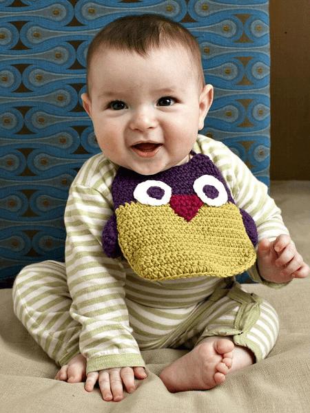 Owl Baby Bib Crochet Pattern by Lion Brand