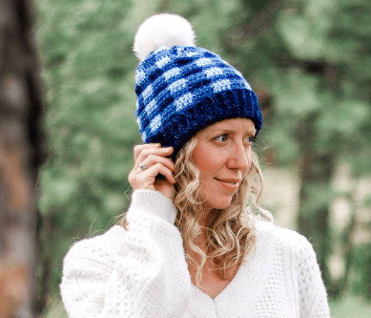 Plaid Crochet Beanie Pattern by Make And Do Crew