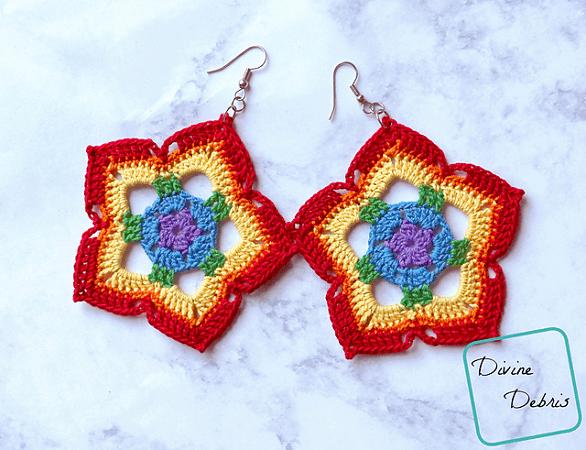 Rainbow Mini Mandala Earrings Crochet Pattern by Divine Debris