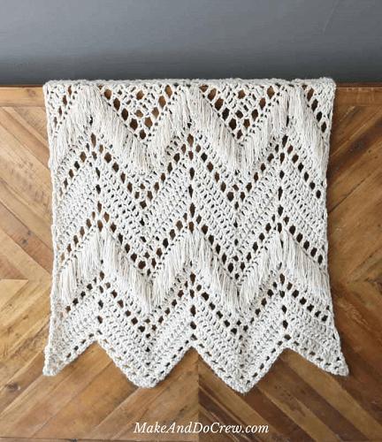 Sedona Fringed Crochet Blanket Pattern by Make And Do Crew