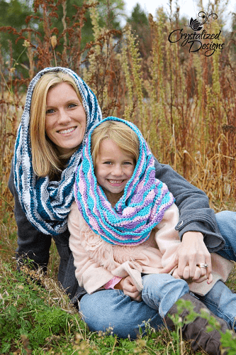 Serene Reflections Hooded Cowl Crochet Pattern by Crystalized Design