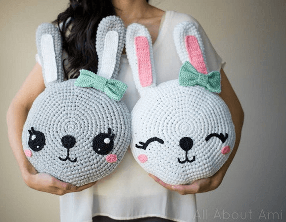 Snuggle Bunny Pillows Crochet Pattern by All About Ami
