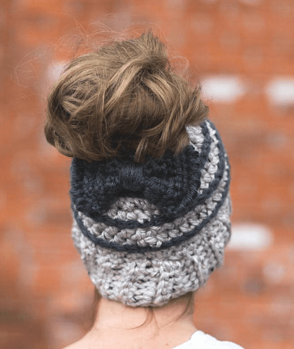Striped Bun Beanie Crochet Pattern by Made With A Twist