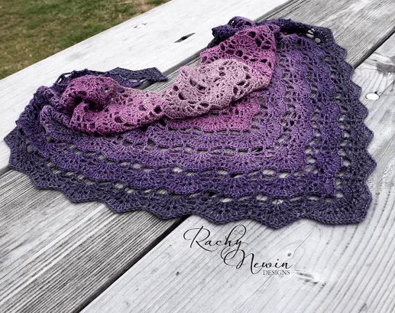 Sugar Plum Triangle Shawl Crochet Pattern by Rachy Newin Designs