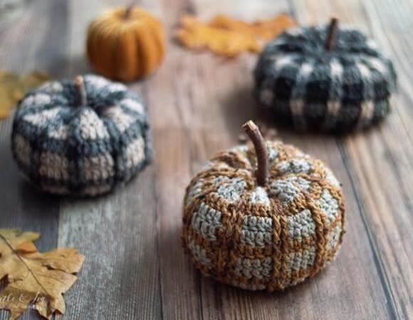 Tartan Plaid Amigurumi Pumpkin Crochet Pattern by Whistle And Ivy