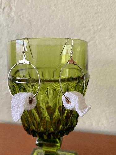 Toilet Paper Earrings Crochet Pattern by Bossy Stuff