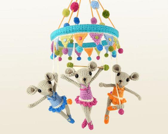 Trapeze Triplets Circus Mobile Crochet Pattern by Moji Moji Design