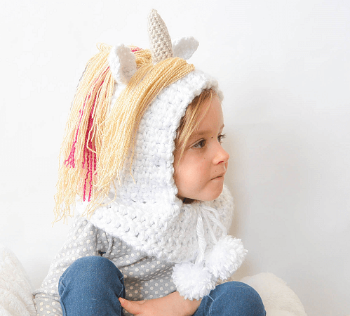 Unicorn Hooded Cowl Crochet Pattern by Mama In A Stitch