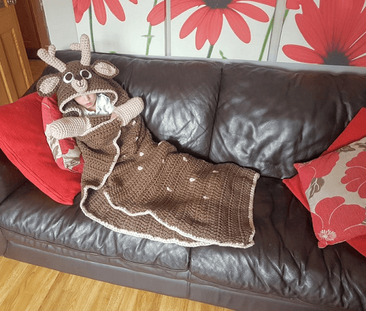 Woodland Deer Hooded Blanket Crochet Pattern by Crafting Happiness UK