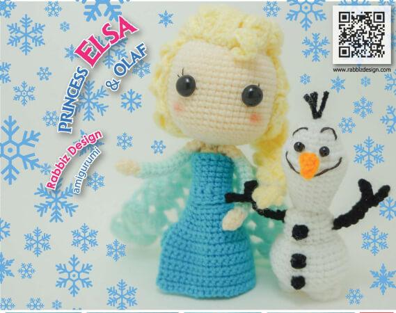 Amigurumi Elsa Olaf Snowman Pattern by Rabbizdesign