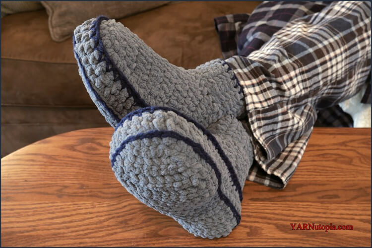 Chunky Adult Mens Crochet Slippers by Nadia Fuad