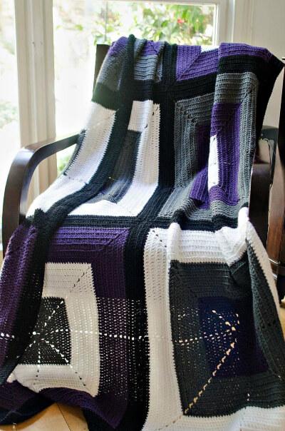 Contemporary Modern Crochet Afghan Blanket Pattern by RedSparrowCrochet