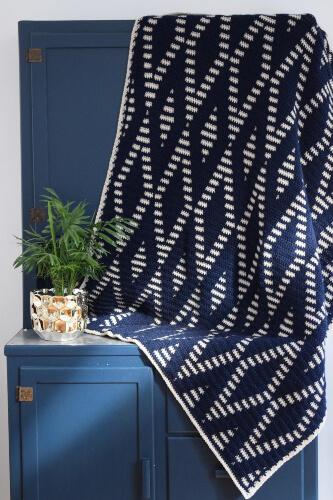 Diamond Heart Geometric Crochet Blanket by RedSparrowCrochet