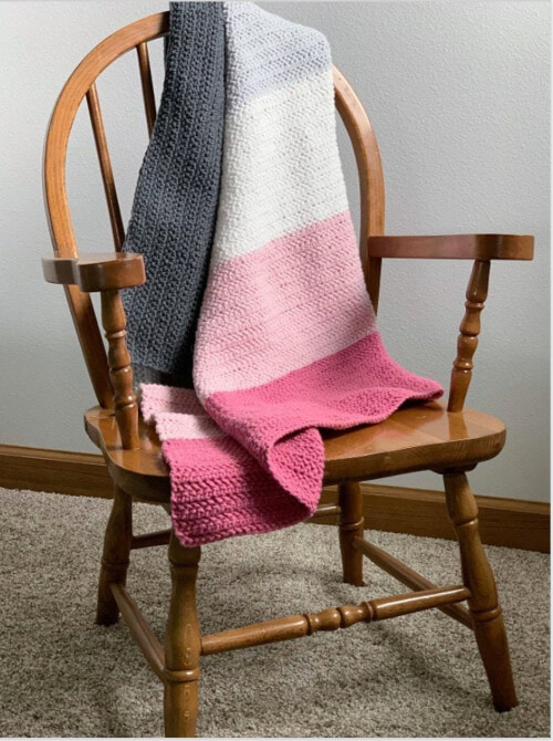 Easy Half Herringbone Modern Crochet Afghan Pattern by SatterleeHome