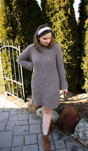 Easy Ribbed Sweater Crochet Dress Pattern by StitchberryPatterns