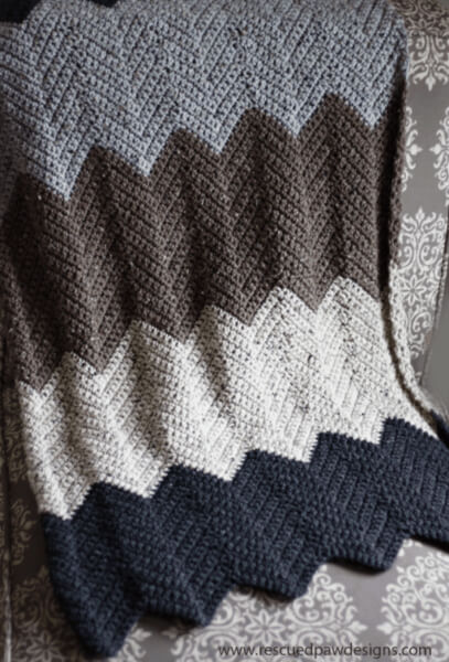 Free Chevron Modern Crochet Blanket Pattern from Easy Crochet