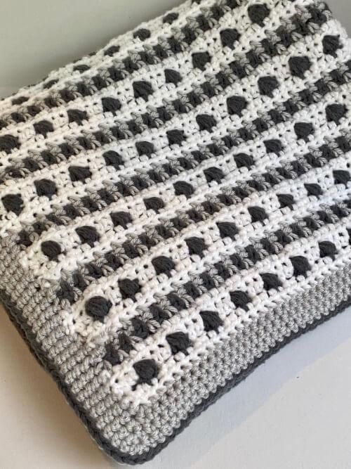 Modern Bean Stitch Baby Blanket Crochet Pattern by Cloud9Knots