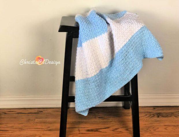 Modern Striped Baby Blanket Crochet Pattern from ChristaCoDesign
