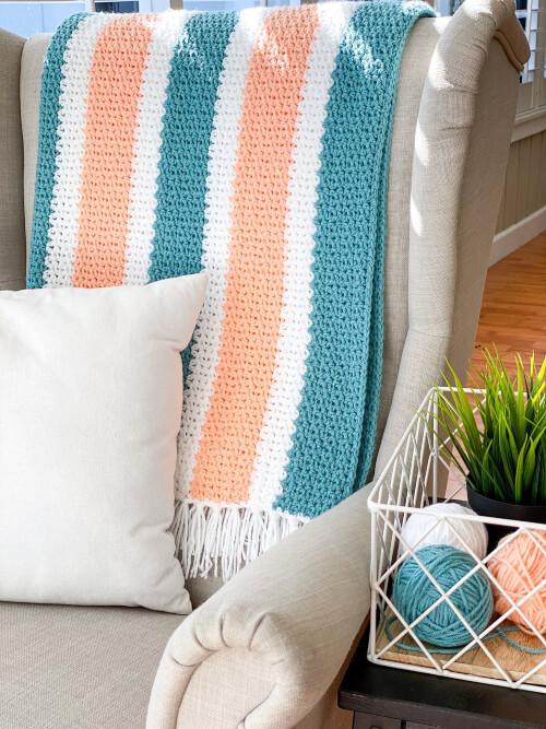 V Stitch Crochet Blanket Pattern by DaisyCittageDesigns