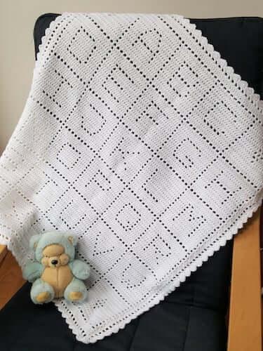 Alphabet Blanket Filet Crochet Pattern by Avondale Patterns