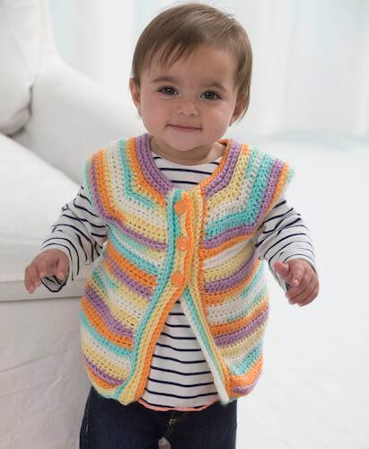 Banana Split Baby Vest Crochet Pattern by Lion Brand