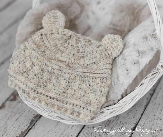 Bear Hugs Baby Beanie Crochet Pattern by Kirsten Holloway Designs
