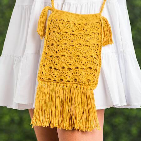 Boho Crochet Crossbody Bag Pattern by Yarnspirations