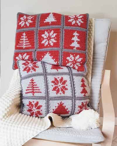 Christmas Pillow Easy Crochet Tapestry Pattern by Make And Do Crew