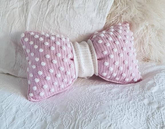 Crochet Bobble Bow Pillow Pattern by Peach And Paige Designs