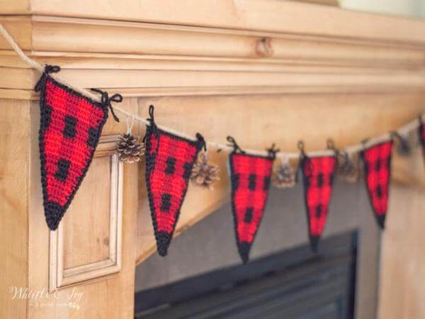 Crochet Buffalo Plaid Triangle Garland Pattern by Whistle And Ivy