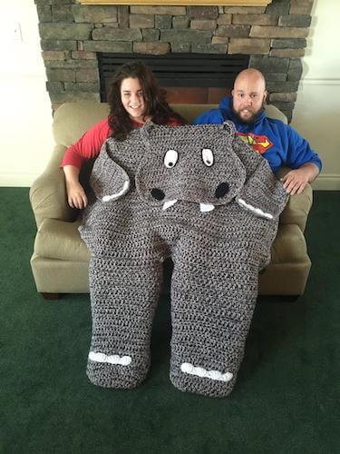 Crochet Bulky Hippo Blanket Pattern by Dana Dee Crochet