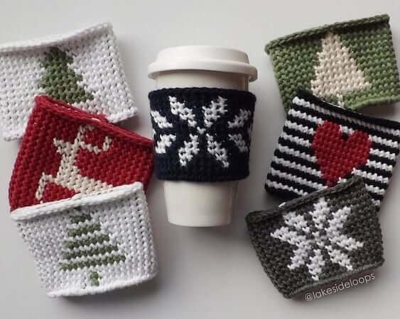 Crochet Coffee Cozy Pattern by Lakeside Loops