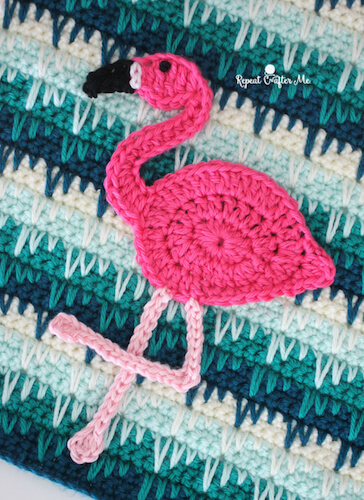 Crochet Flamingo Appliqué Pattern by Repeat Crafter Me