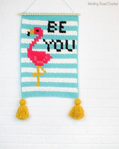 Crochet Flamingo Wall Hanging Pattern by Winding Road Crochet