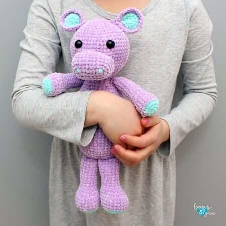 Crochet Hippo Amigurumi Pattern by Loops And Love Crochet