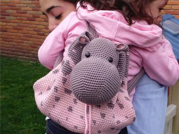 Crochet Hippo Backpack Pattern by Chabe Patterns