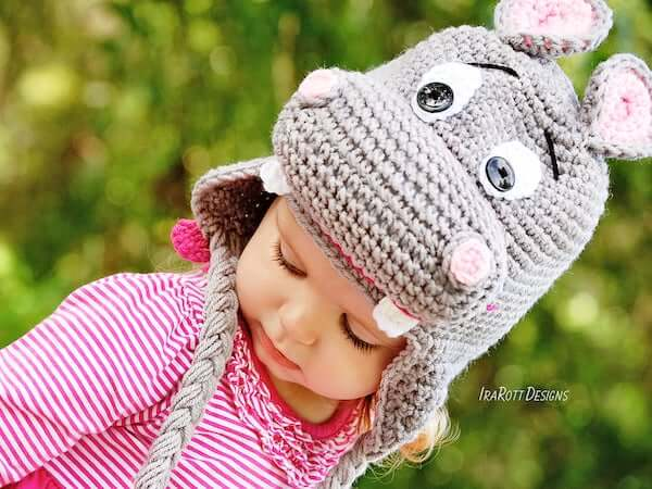 Crochet Hippo Hat Pattern by Ira Rott Patterns