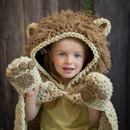 Crochet Hooded Lion Blanket Pattern by MJs Off The Hook Designs