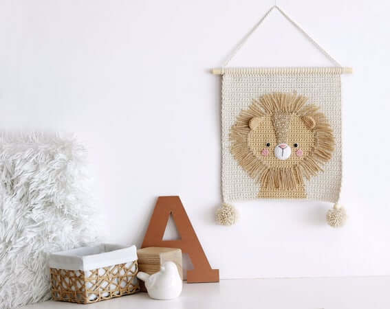 Crochet Lion Wall Hanging Pattern by Demi Deco Shop