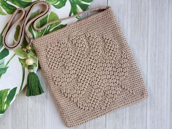 Crochet Monstera Crossbody Bag Pattern by Kathy's Crochet Closet