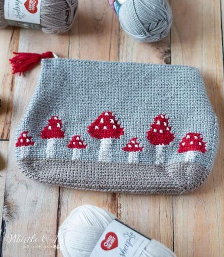 Crochet Mushroom Pouch Pattern by Whistle And Ivy
