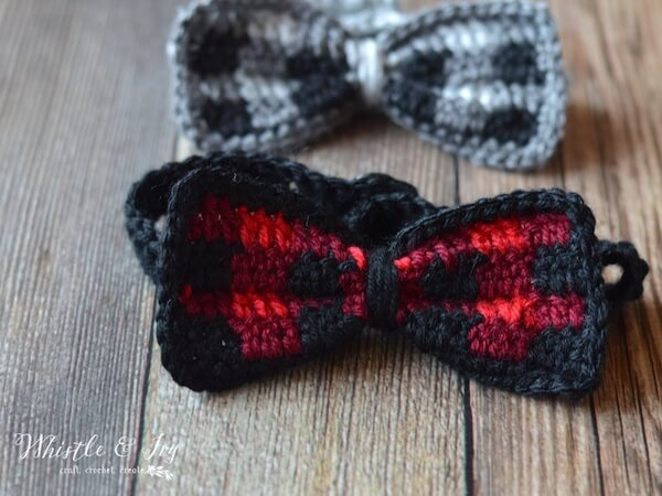 Crochet Plaid Bow Tie Pattern by Whistle And Ivy