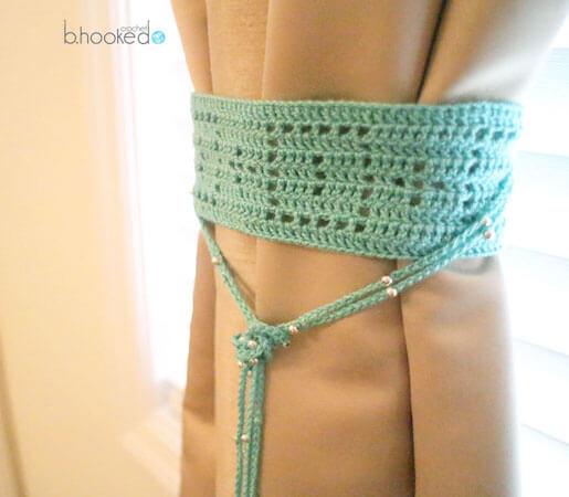 Filet Crochet Curtain Tie Back Pattern by B.hooked Crochet